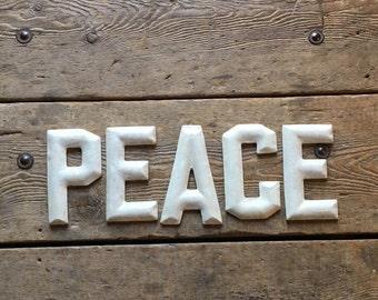 Peace Letters Sign Alphabet Farmhouse Style Wall Art