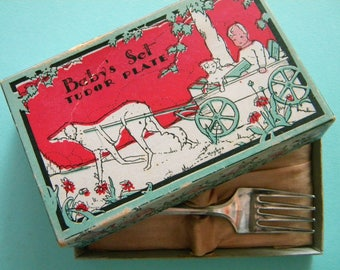 Antique Tudor Plate Baby Set Oneida Community Silver Plate Spoon and Fork is Original Box