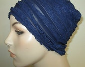 Chemo Ruffled Beanie Navy Blue Play Sleep Cap, Cancer Hat, Alopecia Kids and Adult Chemo Hat