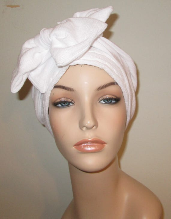 White Gauze Fabric NEW Xtra Wide and Long Ties Chemo Hat, Cancer Scarf, Modest Hat