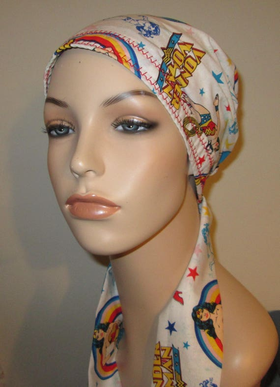 Newest Wonder Woman Print Chemo Scarf, Hat, Cancer Hat,  Alopecia, Head Cover