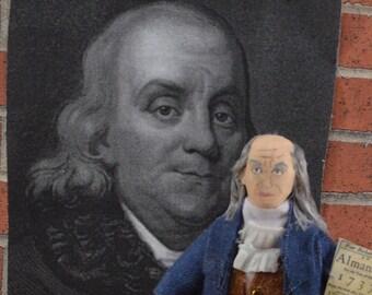 Benjamin Franklin Colonial History American Patriot Doll Miniature Art Collectible