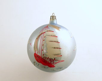 Vintage Christmas Ornament Glass Ornament Sailboat Large Ornament Christmas Decoration