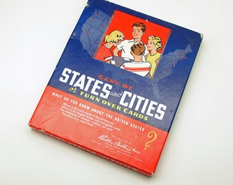 Vintage Game Cards Flash Cards States Cities Turn Over Cards Parker Brothers