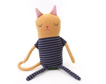 "Cat Sleepy Kitty in Pajamas ""Buzzy"" Cotton Monster Plush"