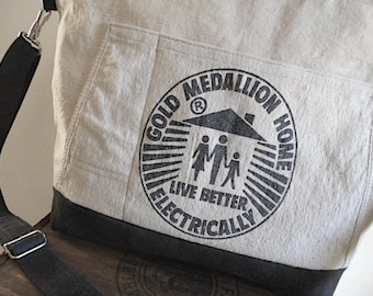 SALE Canvas lumber apron carryall tote, laptop, diaper bag - charcoal black - eco vintage fabric