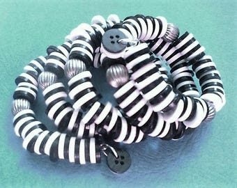 200+ Vintage repurposed button wrist wrap snake bracelet-white and black
