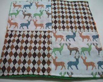 Meadow Deer in Multi Navy Four Square Baby Minky Burp Cloth 12 x 12 READY TO SHIP On Sale
