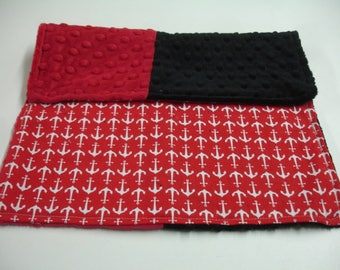 Red Anchors with Red and Black Blue Minky 12 x 15 READY TO SHIP