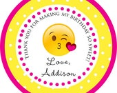 Kissy Face Emoji birthday party favor PERSONALIZED Stickers, Tags, Labels, or Cupcake Toppers, various sizes
