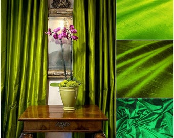 Green Silk Dupioni Drape (Solid or Stripe)  with Lining - You pick the color and style