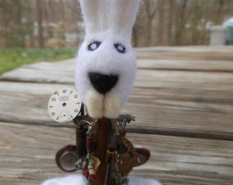 Robot Rabbit Art Doll Assemblage Needle Felted Found Electronic and Watch Parts