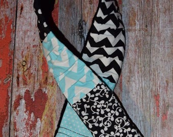 deluxe Plush Aqua blue / black / white Ruffled Patchwork Camera Strap Cover with minky backing