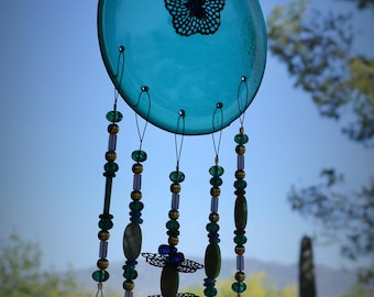 Flowers Windchime Teal Stained Glass