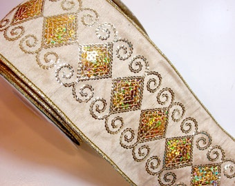 Christmas Ribbon, Offray Beige and Gold Sequin Wired Fabric Ribbon 4 inches wide x 10 yards, Full Bolt of Royale Ribbon