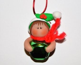 Elf Jingle Bell Polymer Clay Christmas Ornament