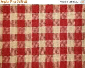 CYBER WEEK SALE Check Fabric | Large Check Fabric | Homespun Fabric | Red Large Check Fabric |  28 x 44