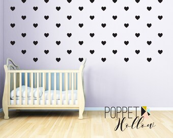 Heart Vinyl Wall Decal - Childrens Bedroom Nursery Heart Wall Art - Vinyl Wall Decor - Baby Girls Bedroom Hearts Wall Collage - CG120