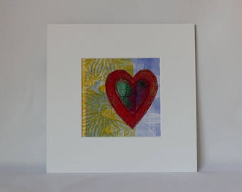wall art-handmade art-heart art textiles-original art hearts-textiles art-art wall decor hearts-framed picture heart-original textiles art