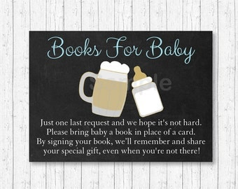 BBQ Baby Shower Book Request Cards / Baby Is Brewing / Beer Baby Shower / BaByQ / Blue / Baby Boy / Printable INSTANT DOWNLOAD A154