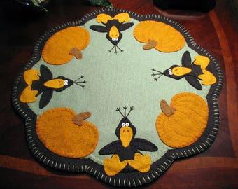 "Hand Stitched 17"" ""THOSE BLASTED CROWS"" Wool-Felt Primitive - Folk Art- Candle Mat - Penny Rug - Fiber Art - Wool Applique - Home Decor"