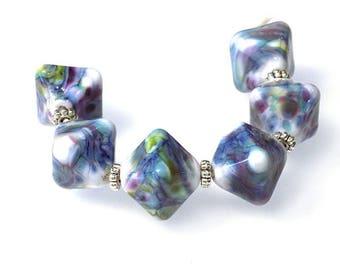 Denim Blues Crystal  Lampwork Bead Set SRA SRAJD