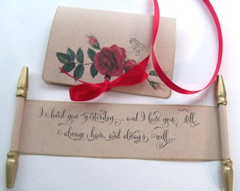 Love letter I loved you yesterday and I love you still Valentine mini scroll greeting card for her, red roses