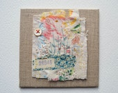 Price reduced ... ARTWORK textile ORIGINAL : Vintage fabrics with hand embroidery - My Garden