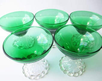 Vintage Anchor Hocking Burple Green Champagne/Sherbet Glasses Set of Five