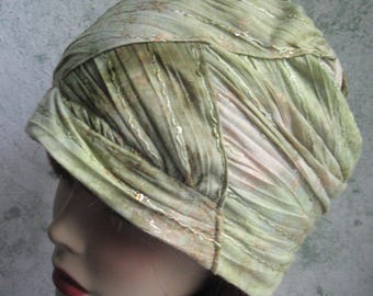 Womens Summer Hat Light Weight Fabric Of Pale Muted Greens And Tan With Sequin Trim Chemo Hair Loss Cap Chic Teen Hat Head Sz 21- 23