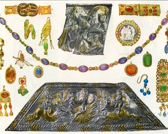 Jewelry Chart  Ornaments Etruscan Greek Hellenistic Roman Ornaments Silver and Gold Dating from 6th Century BC to AD 400 Print to Frame