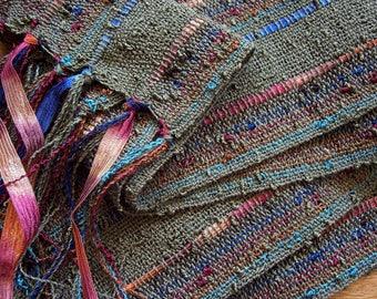 handwoven scarf lightweight spring olive medium width