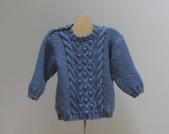 Holiday Sale Baby Boy Blue Cable Sweater 3 - 6 months
