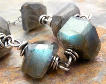 Labradorite Necklace for Women, Labradorite Layering Necklace, Blue Flash Labradorite, Faceted Labradorite, Sterling Silver, #4646