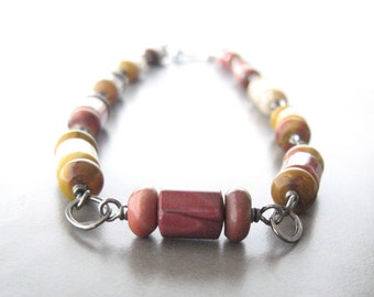 jasper necklace, metalwork and stone necklace, mookaite jasper necklace, multi color stone necklace, silver and stone necklace