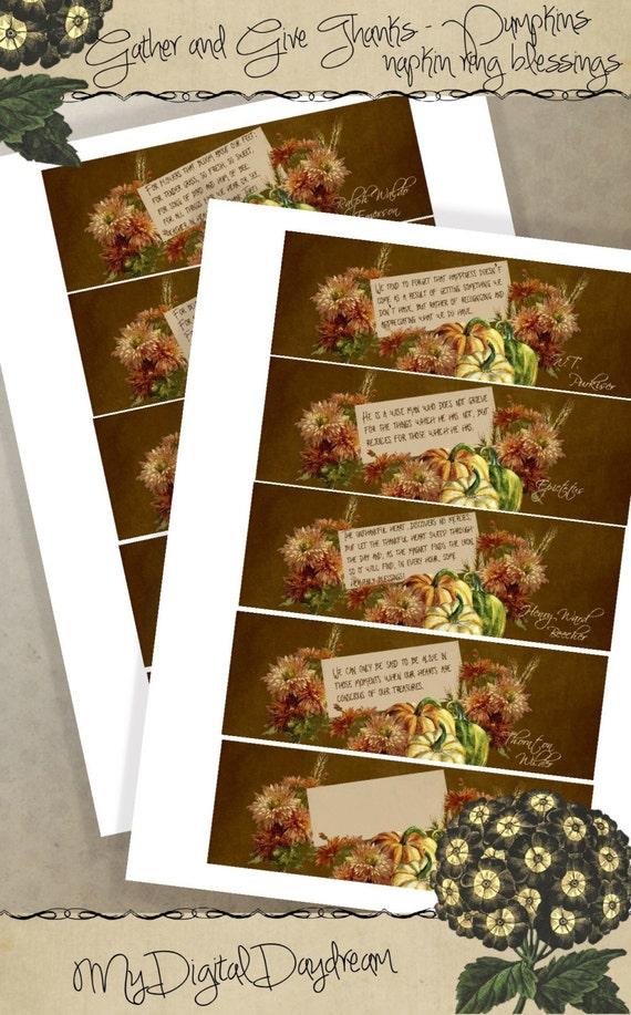 Thanksgiving decor printable napkin ring blessing name