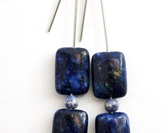 Blue Lapis Lazuli Stone Earrings, Minimalist Style, Dark Blue Stone Beads, Stainless Steel Ear Wires, Dangle Earrings Handmade by Hendywood