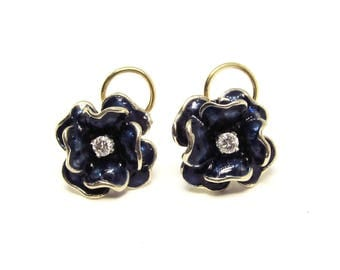Enameled 14Kt Gold and Diamond Pansy Earrings