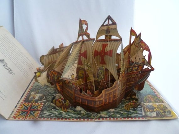 "Pop Up Book, Santa Maria, Chris Columbus, nautical book, Discover America, 1492 discovery, 9""x13"" book, Explorer story, pop up ship"