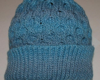 Stonewashed Blue Wool and Soy Silk Honeycomb Hat