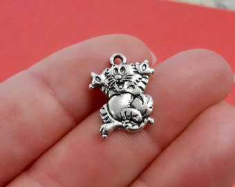 10, Cat, Kitten, Animal, Pet Charms 14x18x1.5mm, Hole: Approx. 1mm