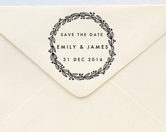Save The Date Stamp - Laurel Berries - Rubber Stamp