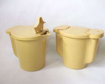 Vintage Cream and Sugar Tupperware Harvest Gold Vintage Kitchenware