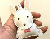 Special Offer - Ready Stock - Small size - Wendy the Rabbit cowhide leather charm ( white )