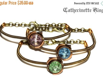 HAPPY HOLIDAYS SALE - Steampunk Victorian - 1 Bracelet - Choose your color Chrysolite Aquamarine or Light Amethyst Swarovski crystal