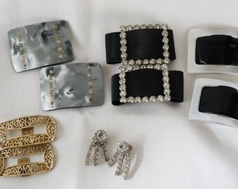 Vintage Collection of 5 Sets of Shoe Clips Rhinestones