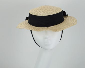 Vintage 1950s Hat Natural Straw Short Brim by Jonquil Sz 23