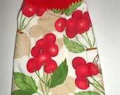 Blow Out Sale Hanging Cherry Towel, Crochet Top Towel, Red Cherry Bunches, Hanging Tea Towel, Hanging Hand Towel, Kitchen Dish Towel, Fruit