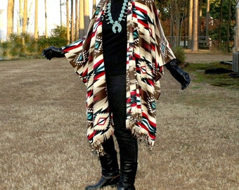 Southwestern Raindance Taupe Poncho, Serape, Shawl, Prayer Shawl, Blanket Scarf or Wrap with Fringe in Anti Pill Fleece--One Size Fits Most