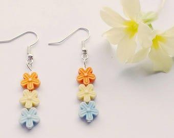 Flower Bead Earrings, Flower Earrings, Dangle Earrings, Bead Earrings, Flower Jewelry, Bohemian Earrings, Gift For Her, Floral Earrings